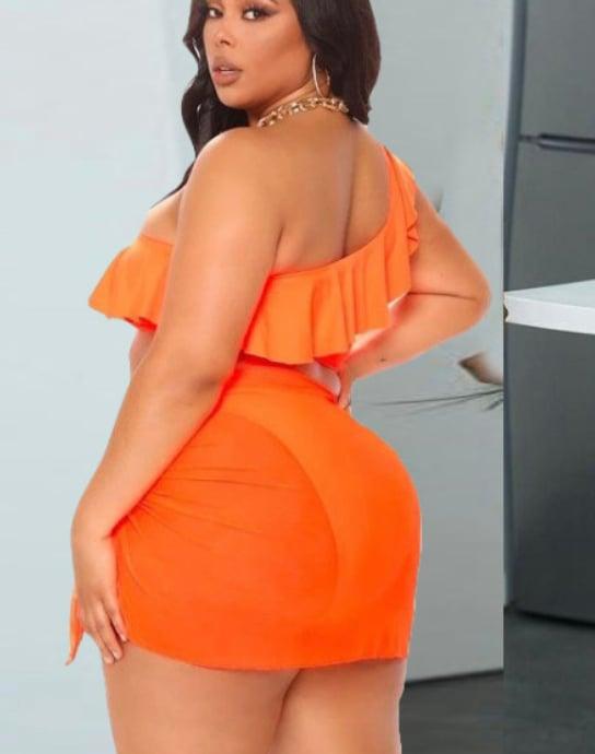 Image of #1188 Plus Size Orange Ruffled One Shoulder Bikinis 3 Piece Sets