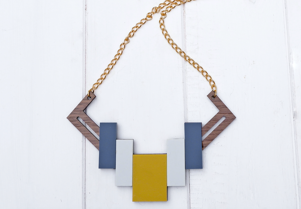 Image of Geometric Wooden Necklace