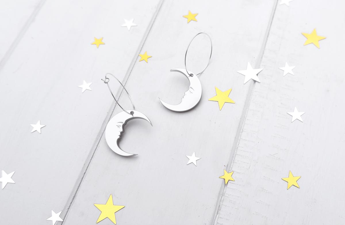 Image of Celestial Moon Hoop Earrings