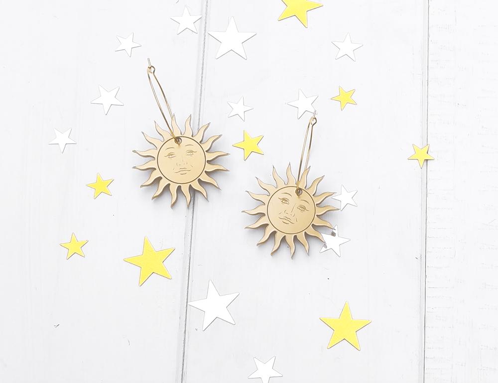 Image of Celestial Sun Hoop Earrings