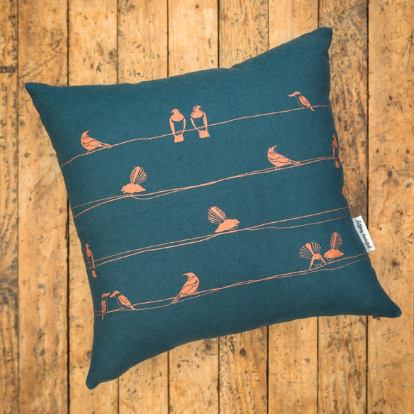 Image of 'NZ Birds' Linen Cushion Cover (Teal)