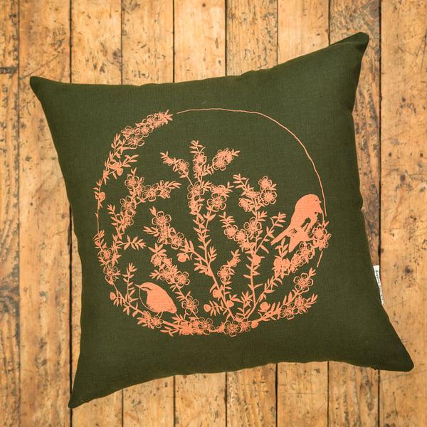Image of 'Mānuka, Miromiro & Tītipounamu' Linen Cushion Cover (Green)