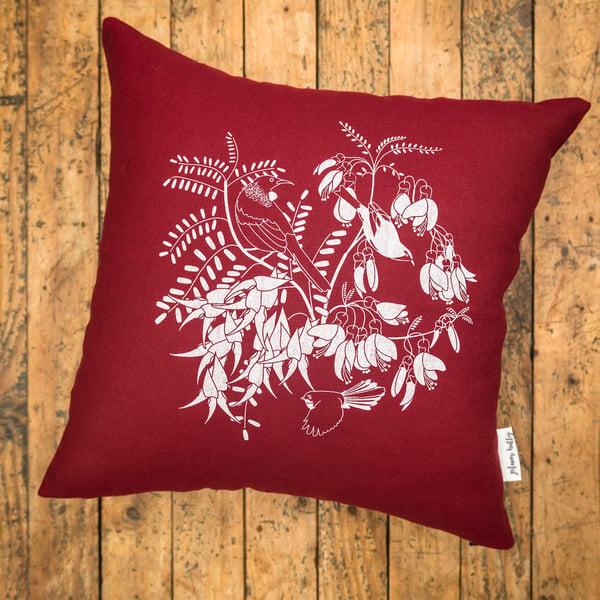 Image of 'Aotearoa Botanica' Linen Cushion Cover (Red)