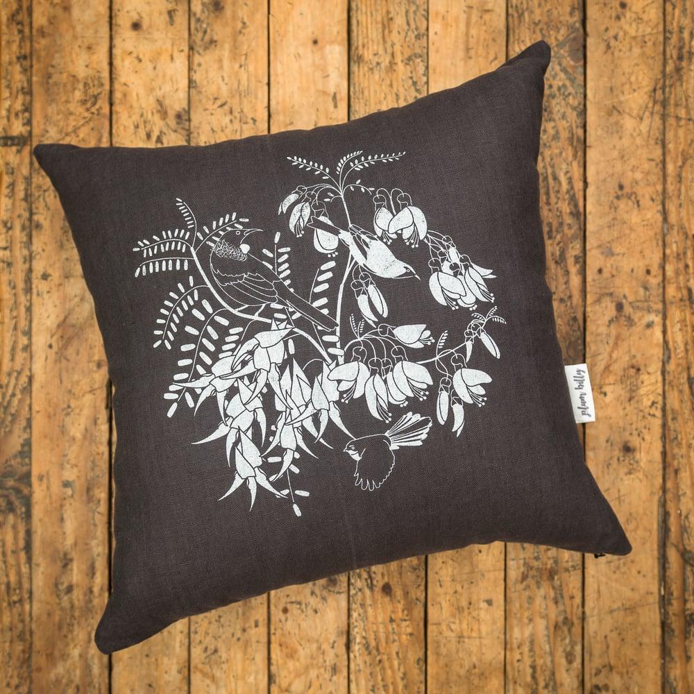 Image of 'Aotearoa Botanica' Linen Cushion Cover (Charcoal)