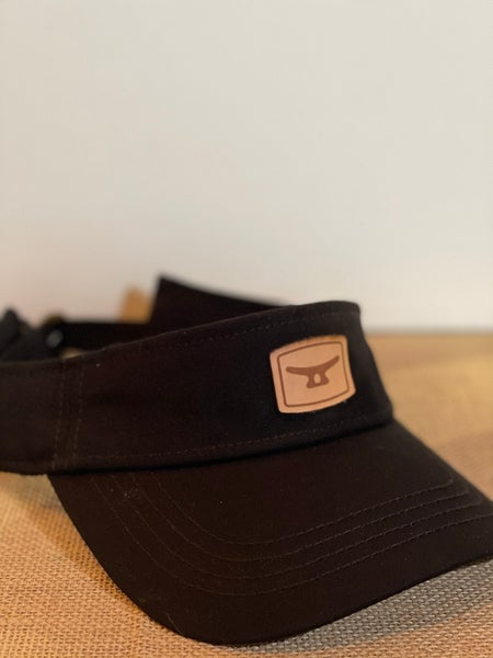 Image of Black/ brown leather patch visor
