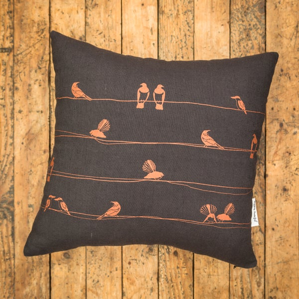 Image of NZ Birds Linen Cushion Cover (Charcoal)