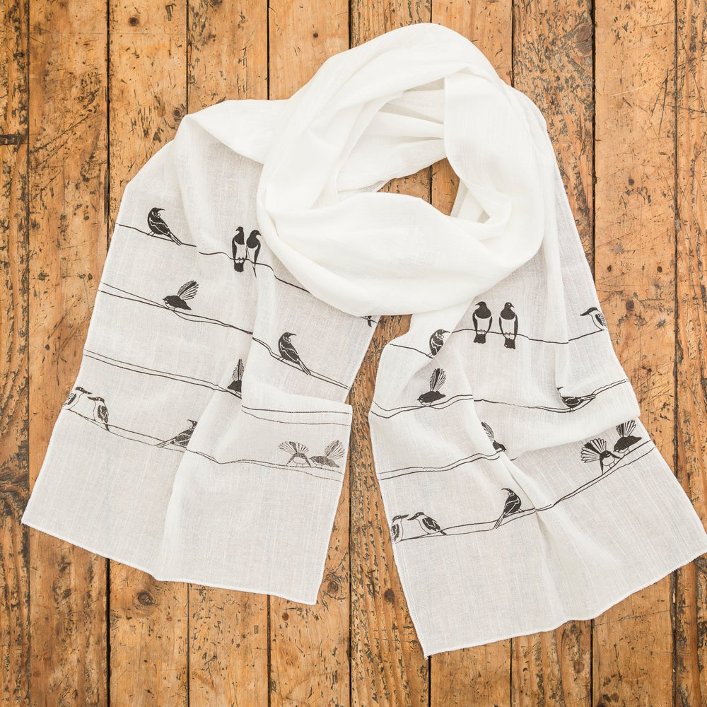 Image of 'NZ Birds on a Wire' Cotton Scarf (White)