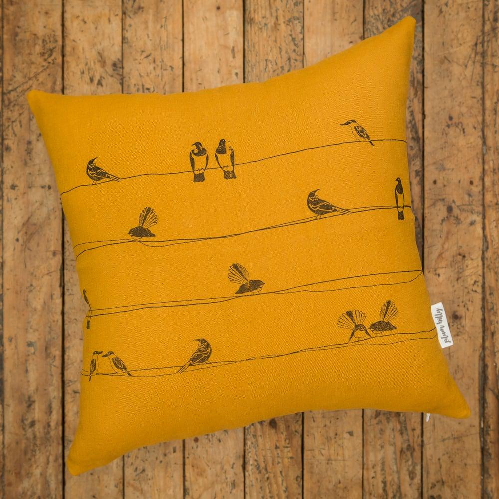 Image of 'NZ Birds' Linen Cushion Cover (Mustard)