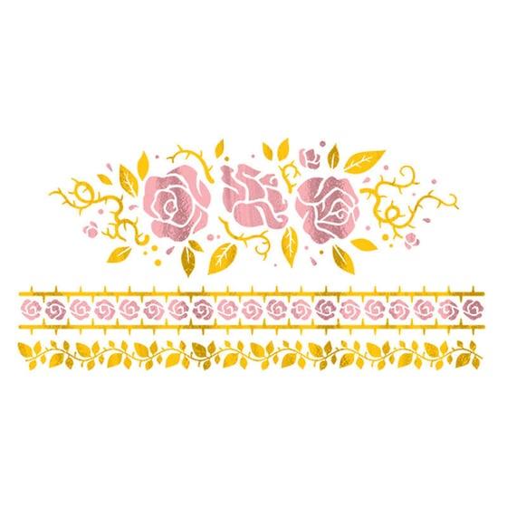 Image of Gold Foil Gilded Rose - 2 Tattoo Set