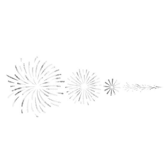 "Image of Silver Foil Fireworks Asymmetric 6"" Tattoo"