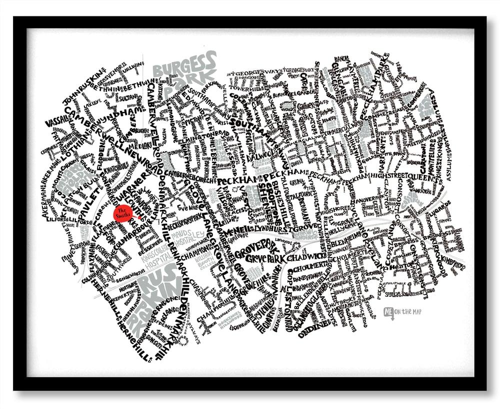 Image of Camberwell SE5 & Peckham SE15 - SE London Type Map
