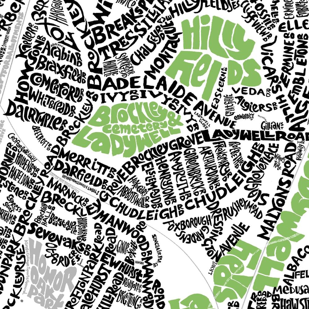 Image of SE London Parks - New Cross-Brockley-Forest Hill-East Dulwich-Sydenham-Penge-Beckenham Type Map