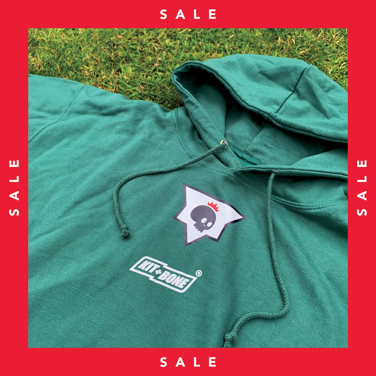 Image of Retro Patch Hoodie Sage Green