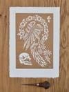 Rosie - woodcut print