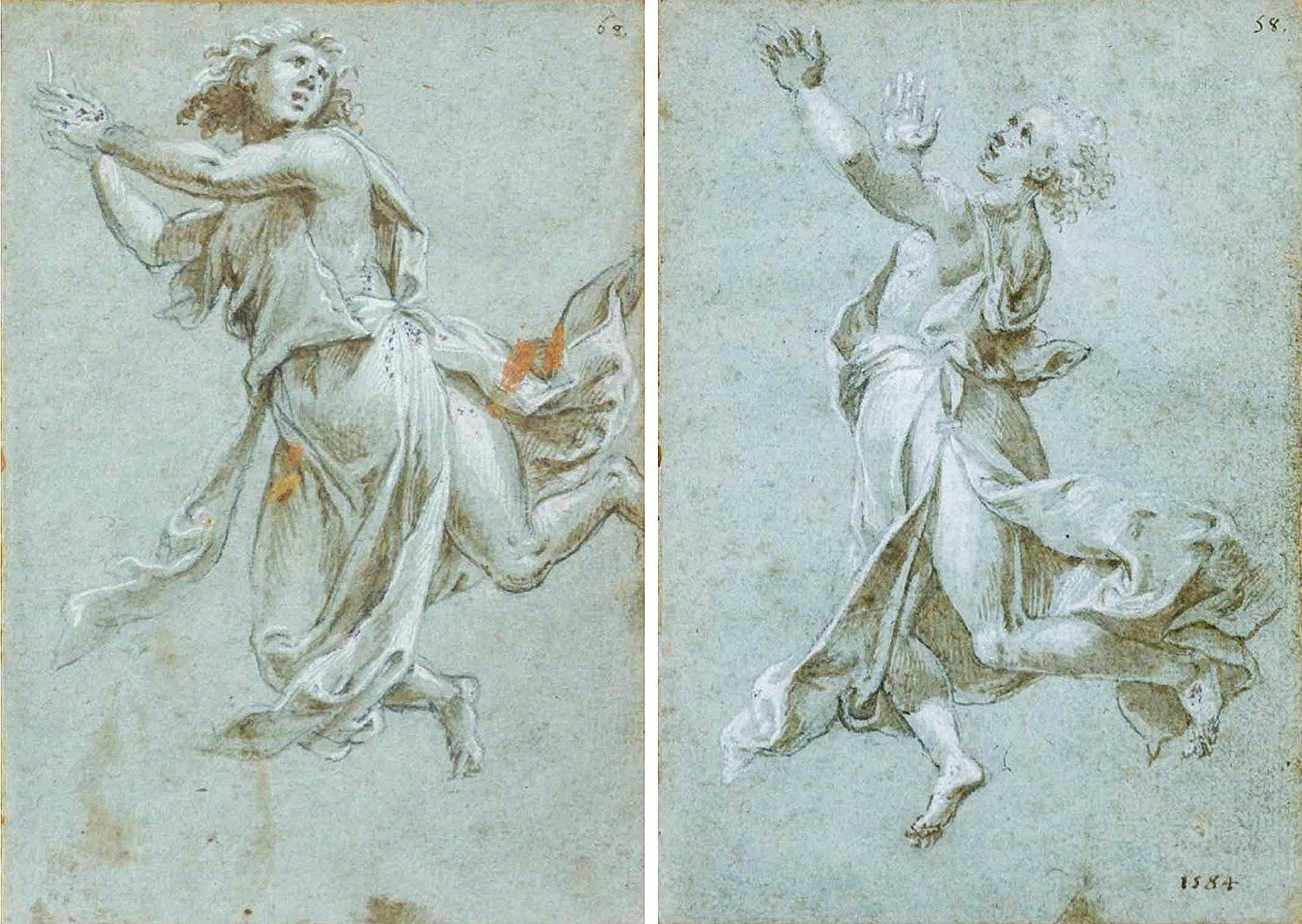 Image of Two sketches of Angels in Adoration by Carlo Urbino, 16th cent.