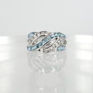 Image of 18ct white gold diamond + aqua cocktail ring.