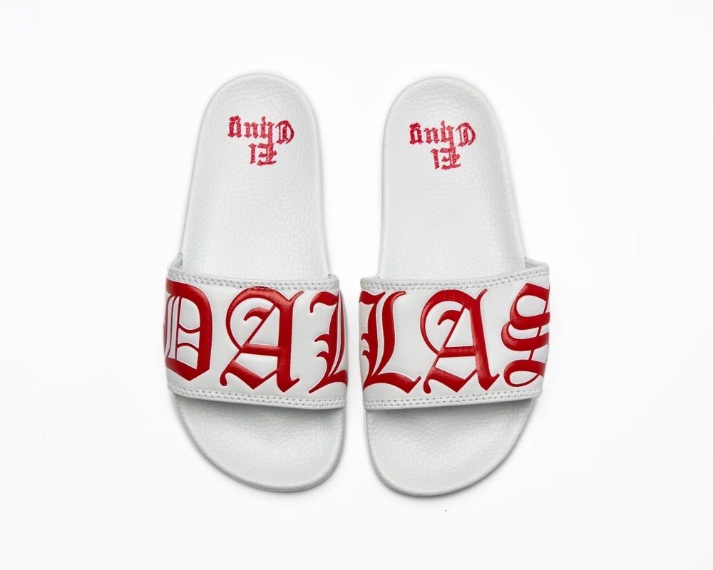 Image of DALLAS WHITE/RED SLIDES (NOW SHIPPING)