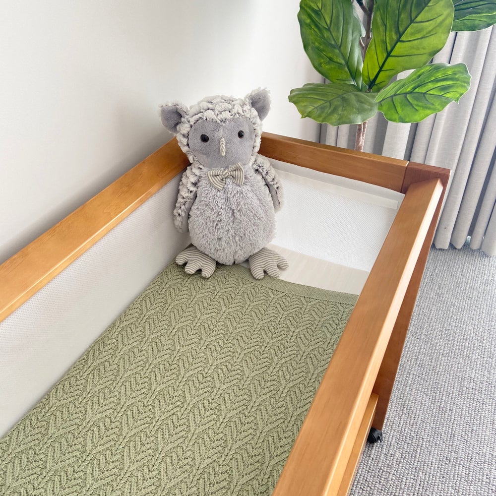 Image of Baby Knitted Blanket - Botanical Design