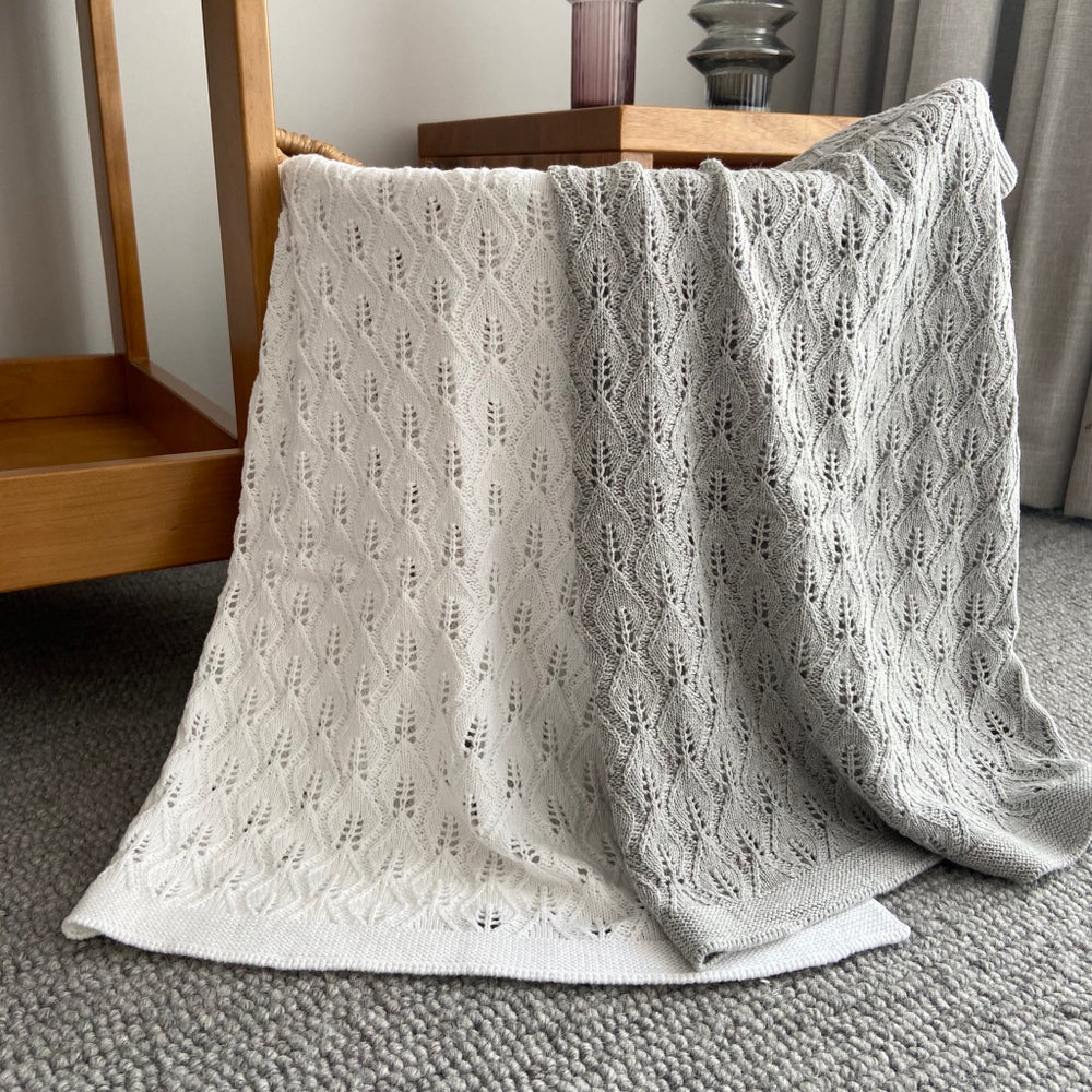 Image of Baby knitted blanket - Leaf Design in 6 colours
