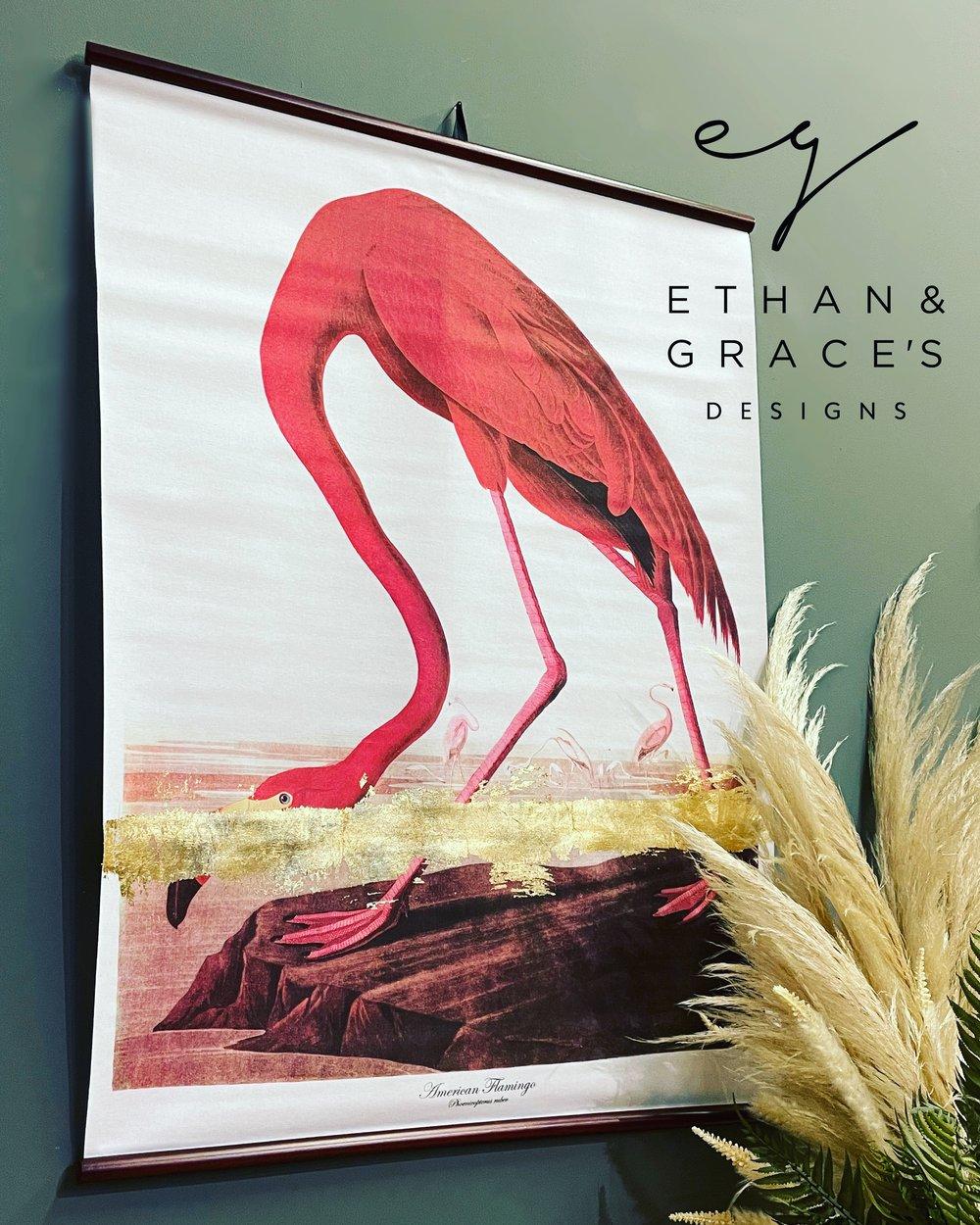Image of Flamingo gold leaf large canvas chart