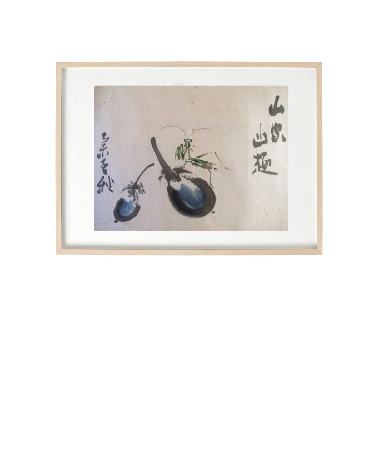 Image of Sumi-e – Auberginer med græshoppe – Fra serie af originale meditative blækmalerier