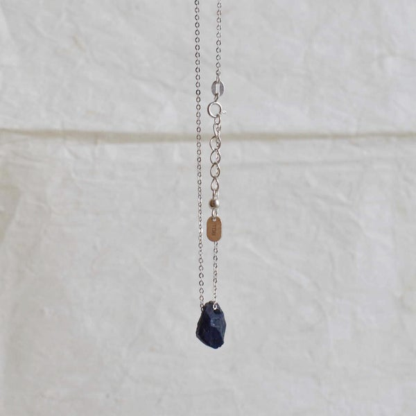 Image of Natural rough Blue Sapphire necklace
