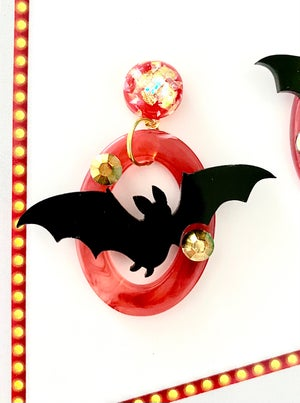 Image of Monster Batty Dreadful Earrings - Blood Red