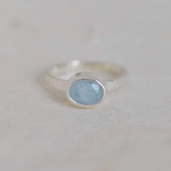 Image of Natural Blue Aquamarine oval cut flat band silver ring