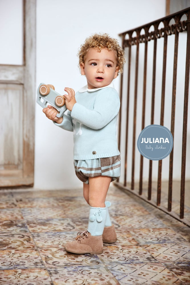 Image of Teddy Knitted Top and Plaid Jam Pants