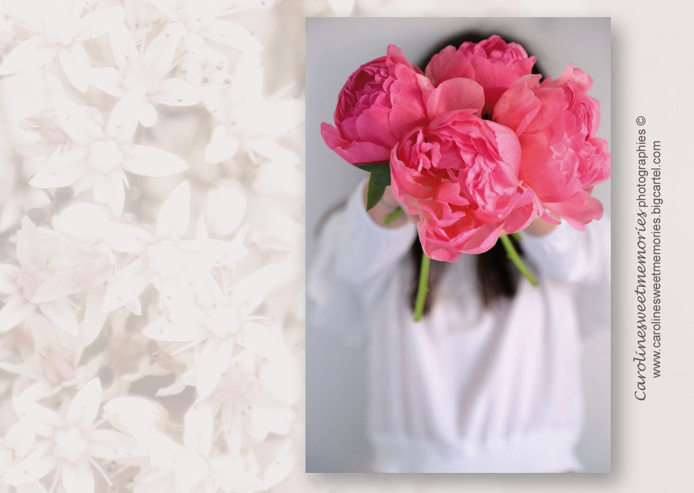 Image of Le bouquet de pivoines roses | carte postale