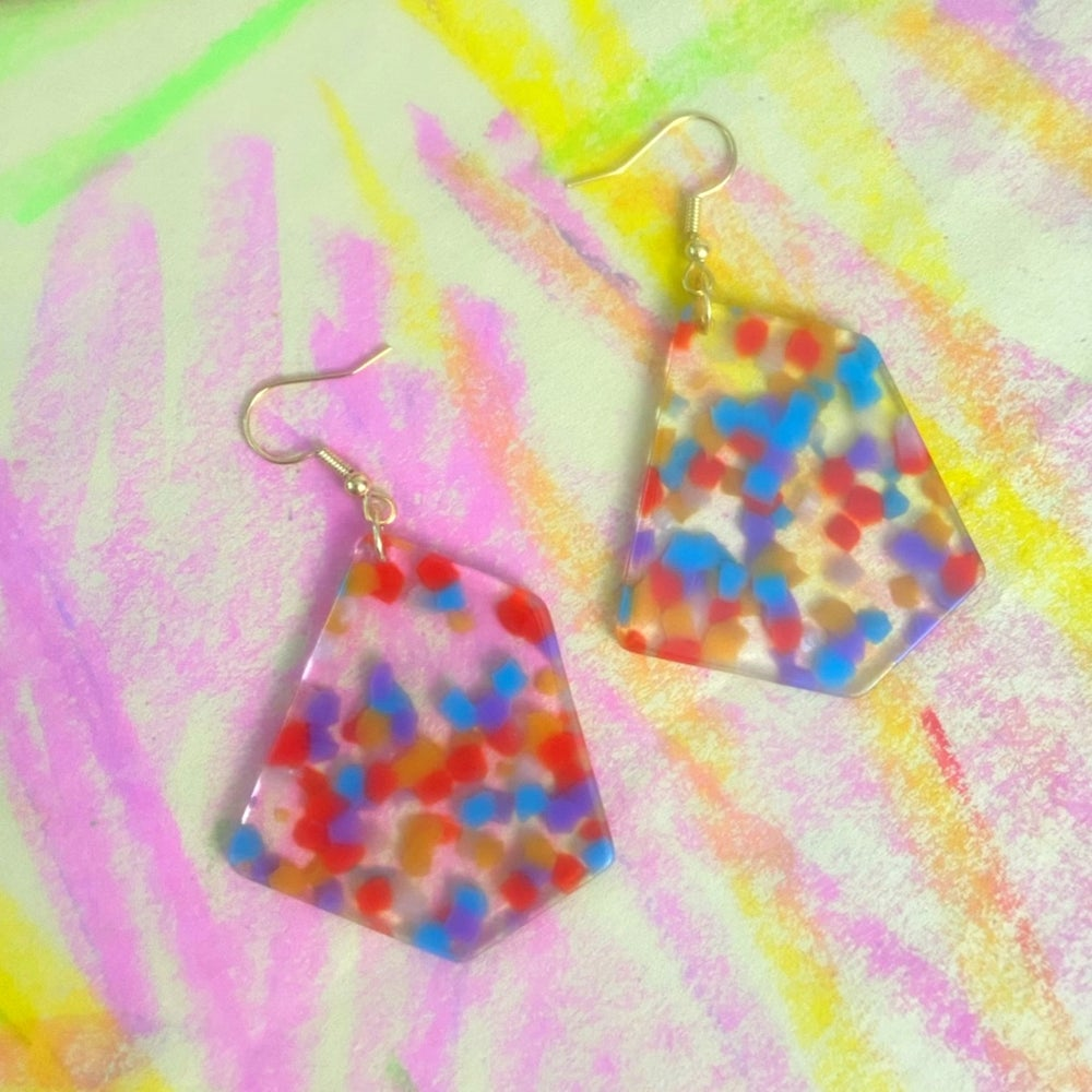 Image of ABSTRACT COLOR BLOCK EARRINGS