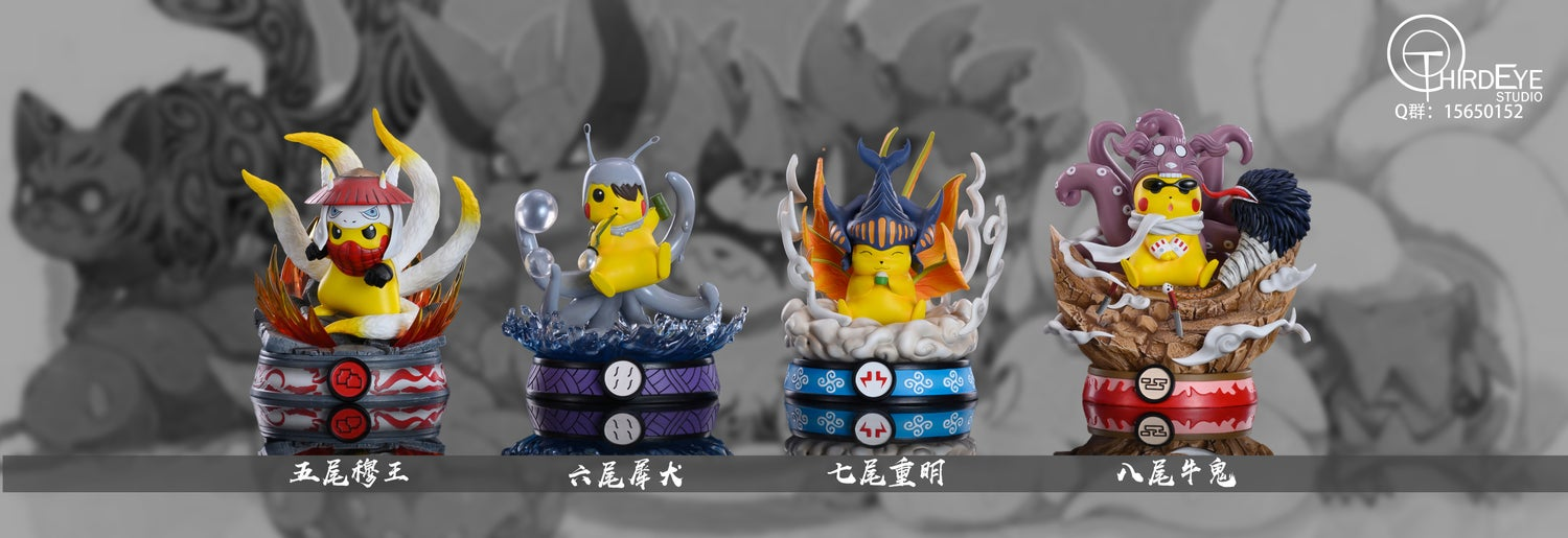 Image of [In-Stock]Naruto Pikachu Crossover 5th 6th 7th 8th Tail Set Resin Statue