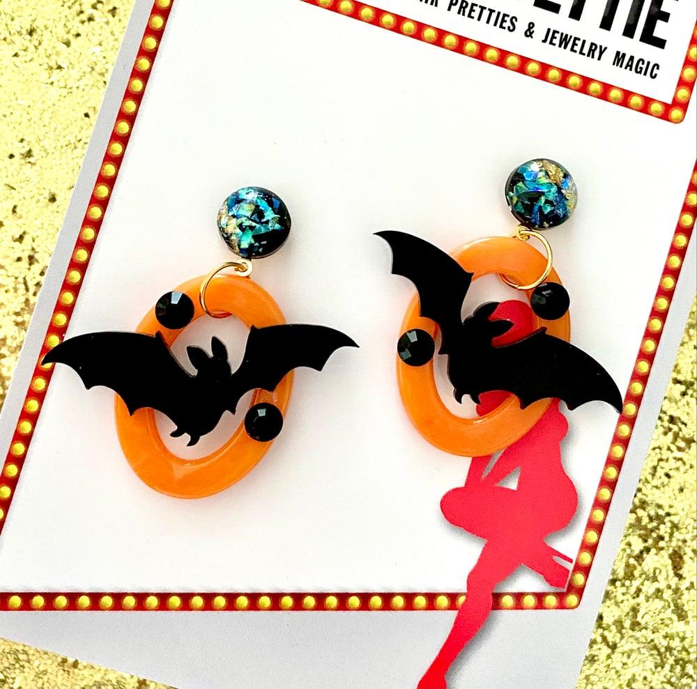 Image of Monster Batty Dreadful Earrings - Pumpkin Orange