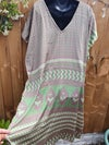 Hi low tunic light grey silver and mint green