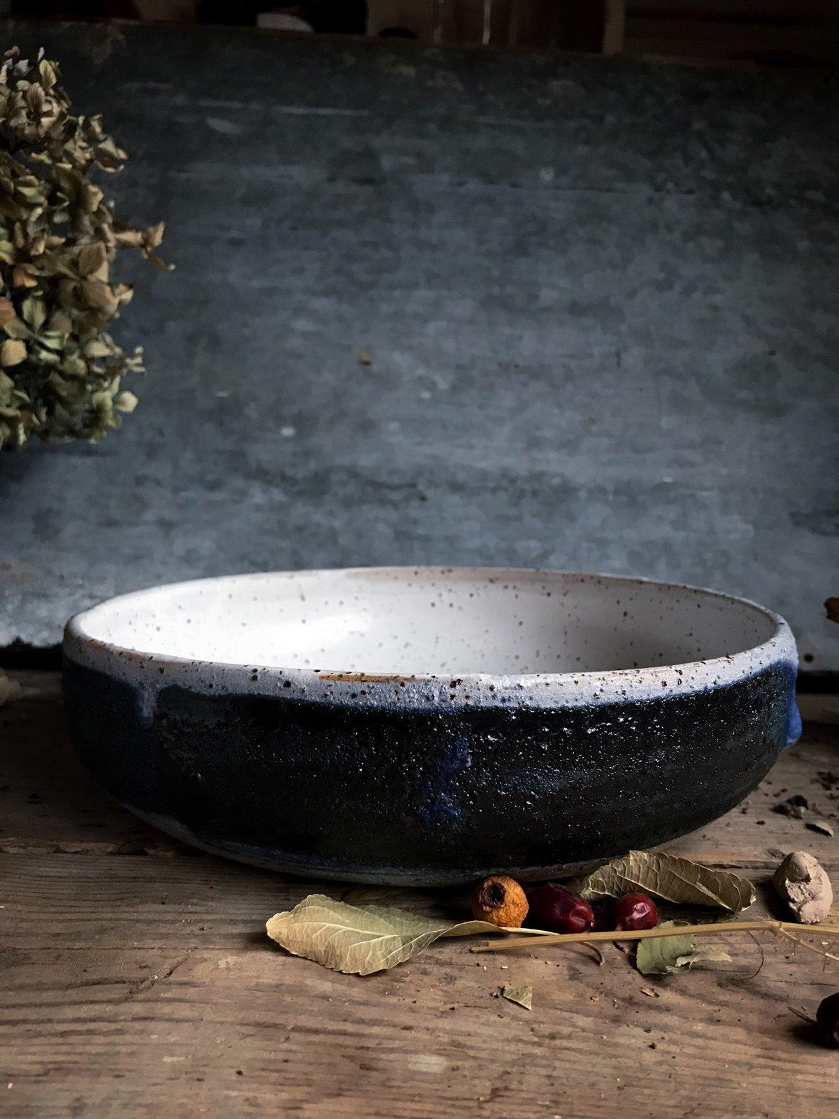 Image of Blue stripe speckled bowl