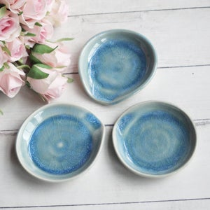 Image of Extra Small Spoon Rest in Sea Glass Blue Glaze, Teaspoon Dish for Coffee Station, Made in USA