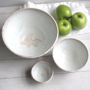 Image of Three Bowl Nesting Set, Ceramic Pottery Bowls in Dripping White and Ocher Glazes, Made in USA