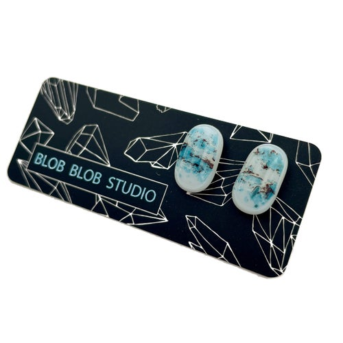 Image of White, Blue, and Gray Speckles Studs