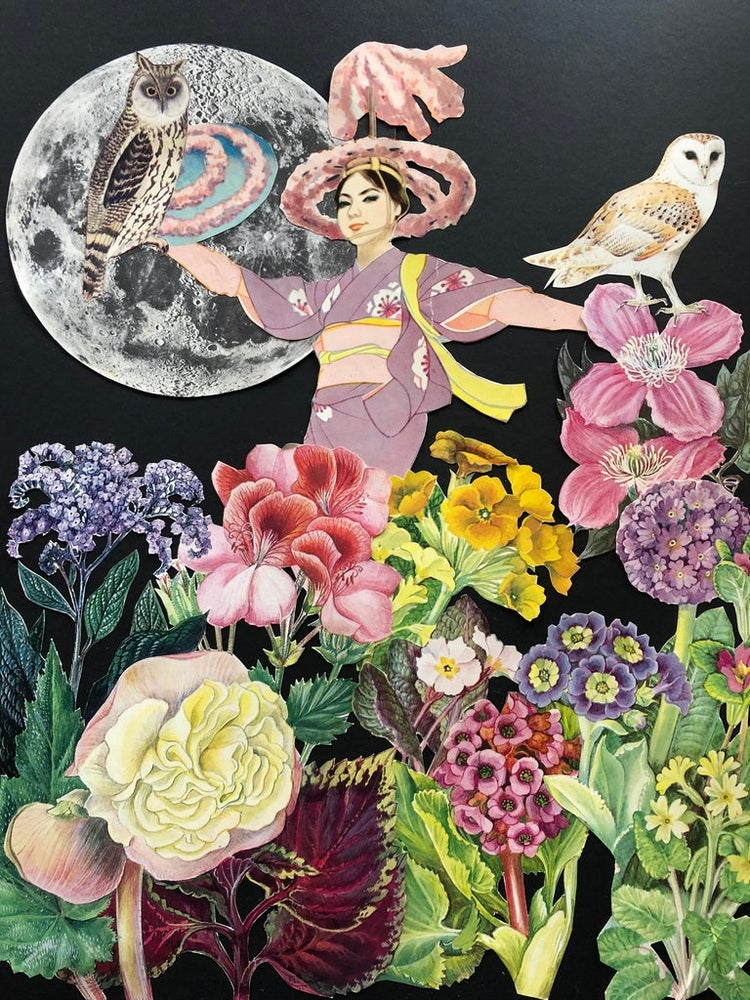 Image of The night gardener. Limited edition collage print.