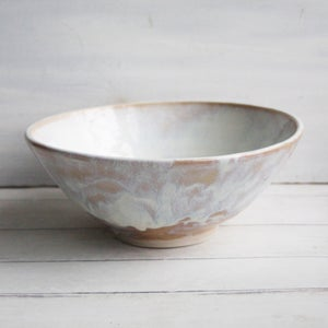 Image of Serving Bowl with White and Ocher Dripping Glazes, Handcrafted Pottery, Made in USA
