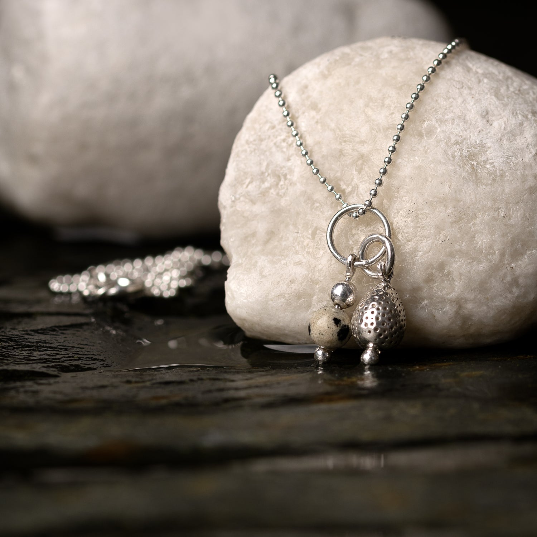 "Image of Penguin Egg Pendant with Dalmatian Jasper bead - 18"" chain"