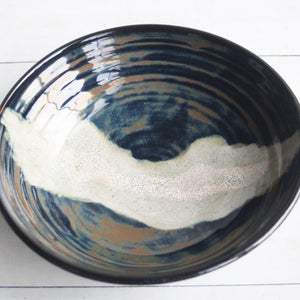 Image of Modern Rustic Shallow Serving Bowl with Swirling Dark Glazes, Pottery Bowl, Made in USA