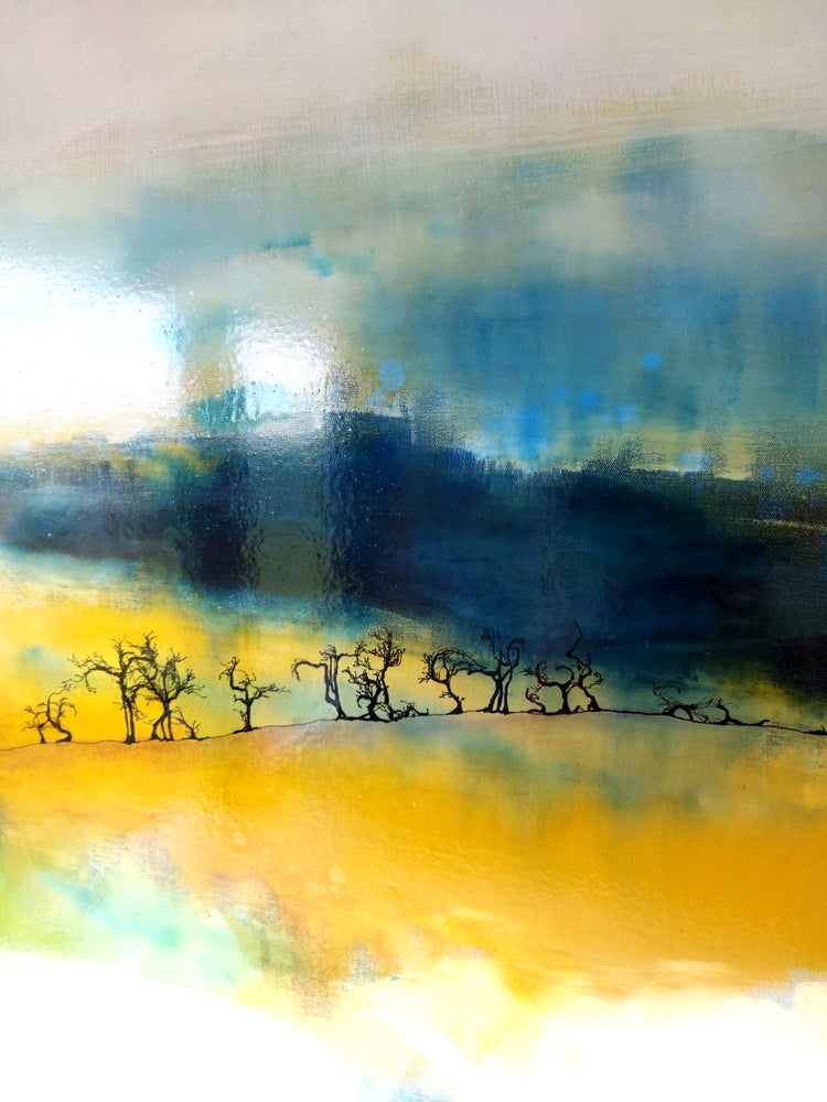 Image of Original Canvas - Hawthorns on Prussian Blue/Yellow Ochre/Turquoise