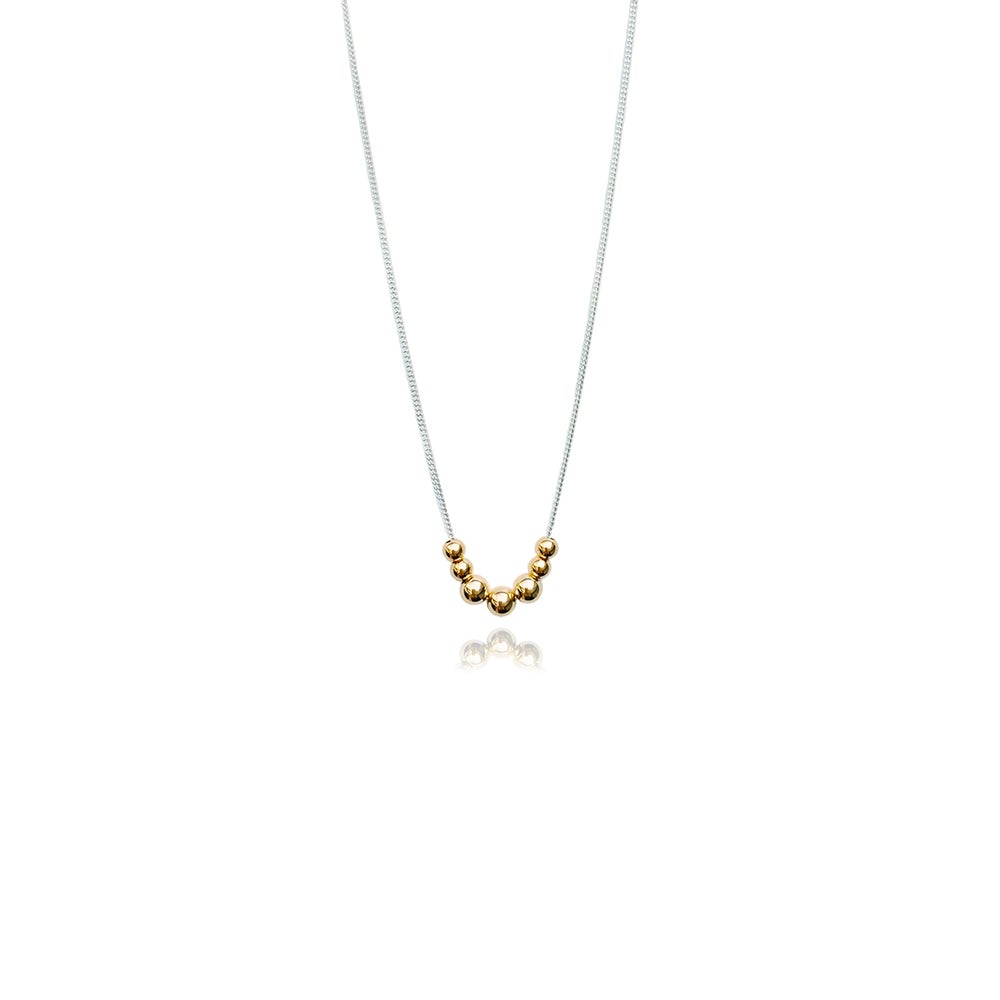 Image of Silver necklace with 9ct gold beads