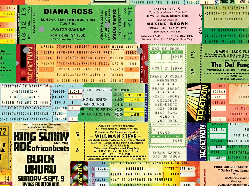 Image of Boston Ticket Stub Greeting Cards 5 PACK [1950s – 2000s]