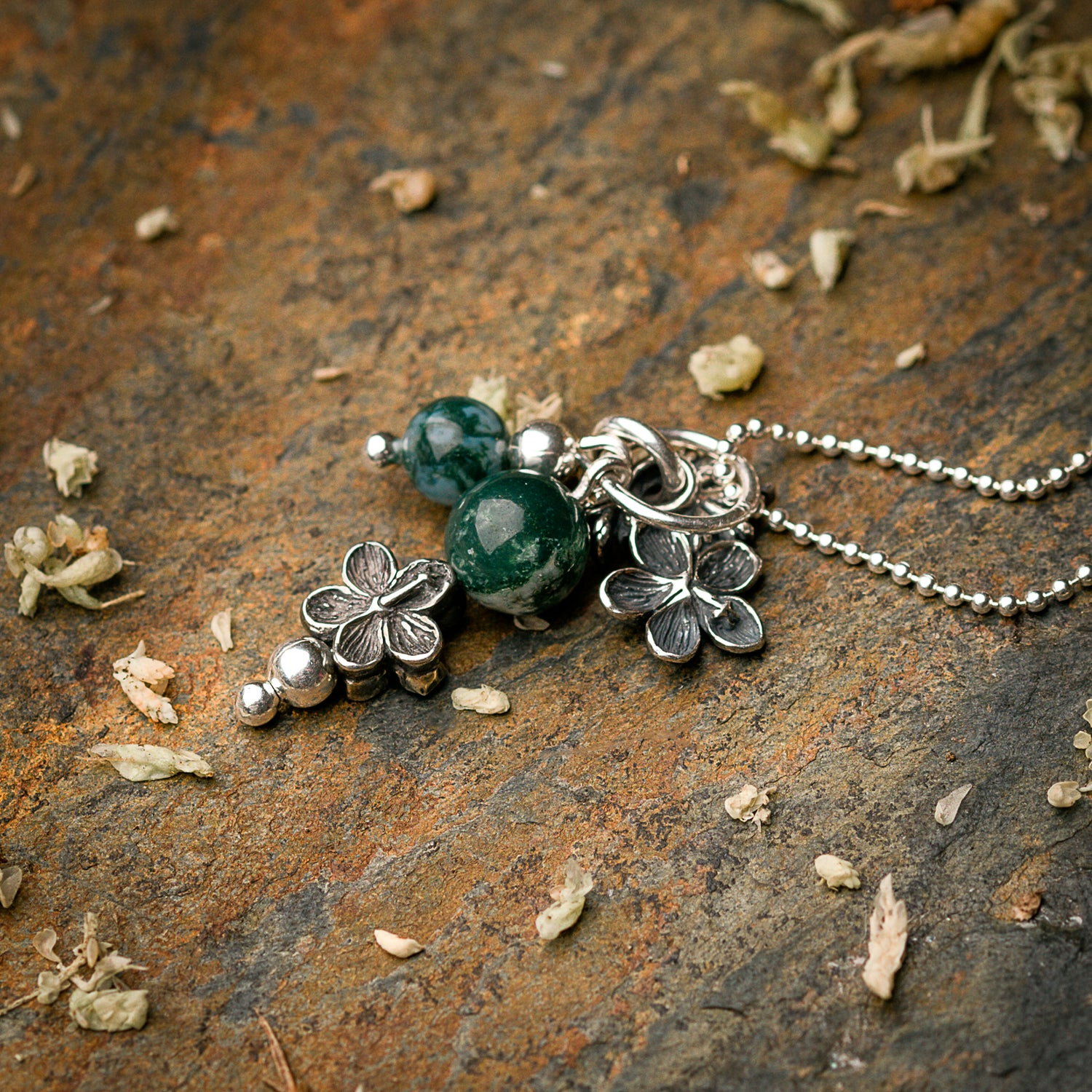 Image of Geranium Cluster Pendant on Silver Ball Chain