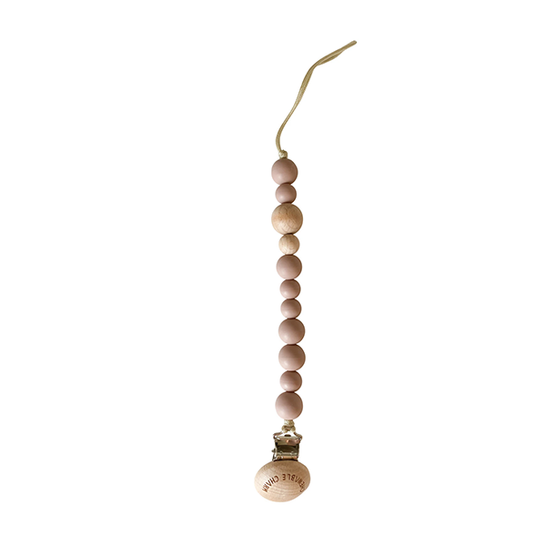 Image of Classic Pacifier Clip - Wood+ Rose
