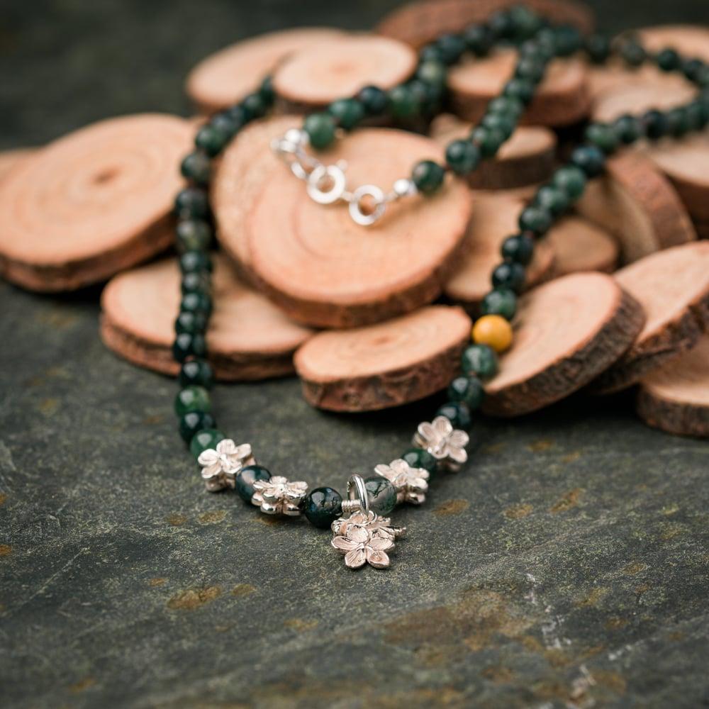 "Image of Geranium pendant on beaded 18"" chain"