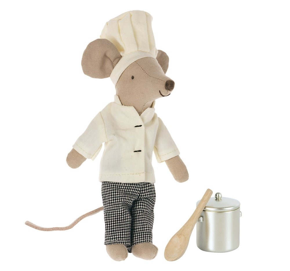 Image of Maileg - Chef Mouse With Pot And Spoon (Pre-order)