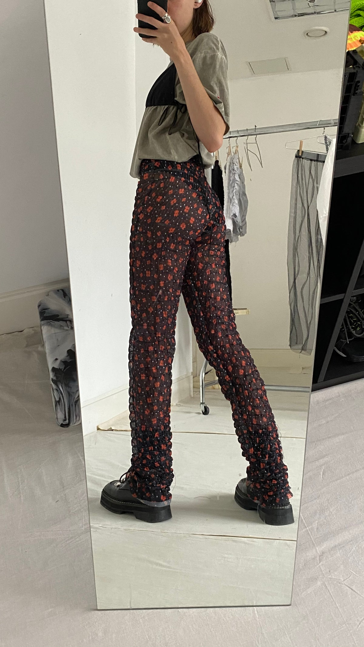 Image of MESH RUCHED TROUSERS